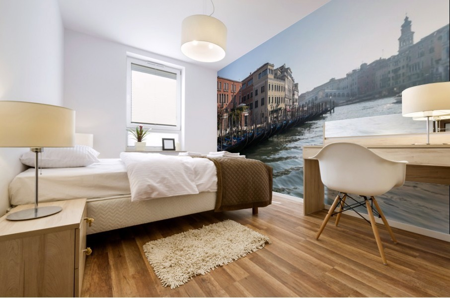 Classic Venetian - Glossy Gondolas And Ripples On The Grand Canal Mural print