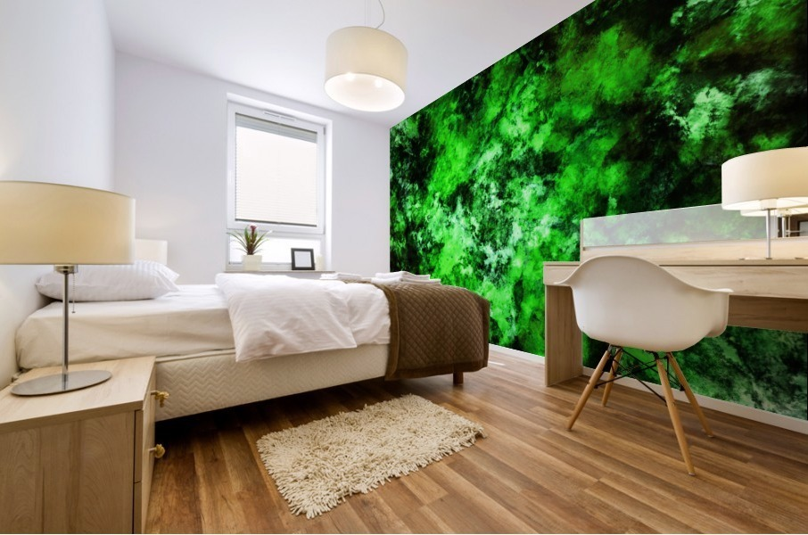 Green burst Mural print
