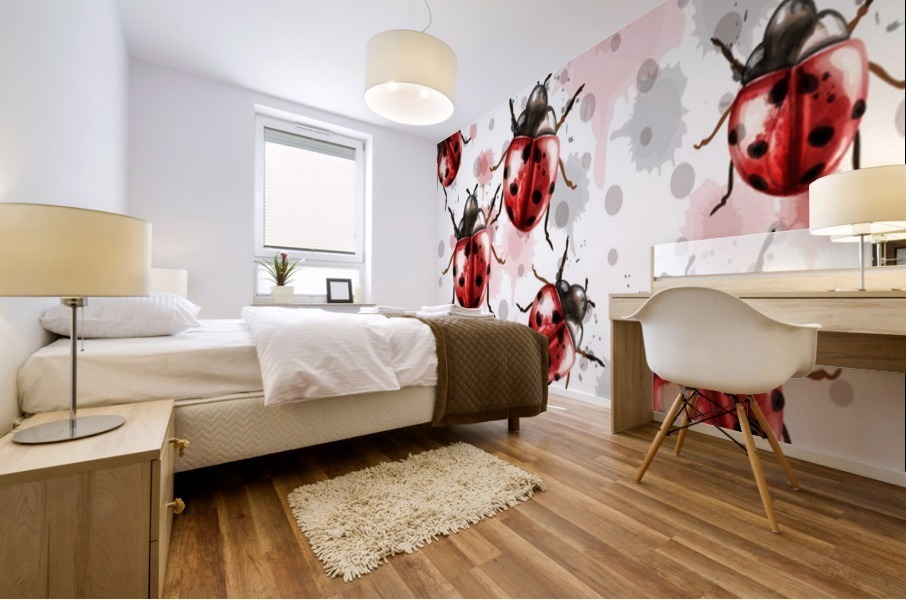 ladybugs pattern texture watercolor_ Mural print