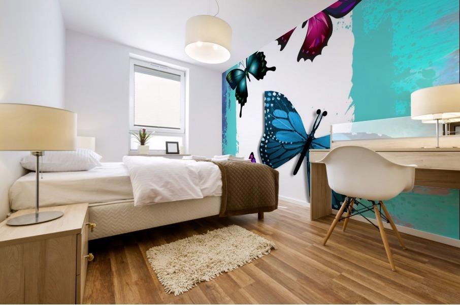 Whimsical Morpho Butterflies in Vivid Colors Mural print