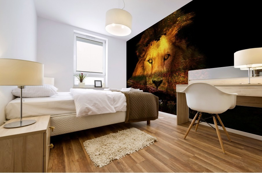 The Lion Watches Mural print