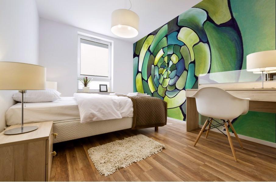 Art Deco_Green _Pattern_displate Mural print