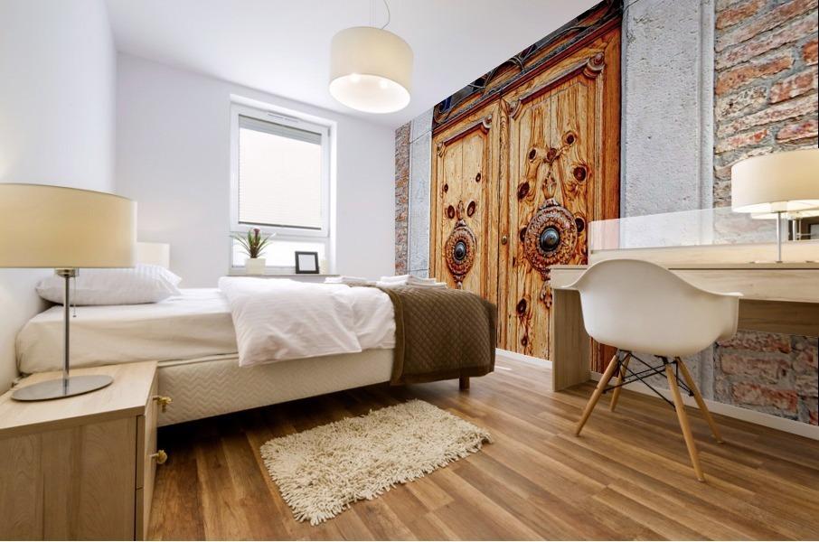 Ornate Wooden Door Citta della Pieve 1 Mural print