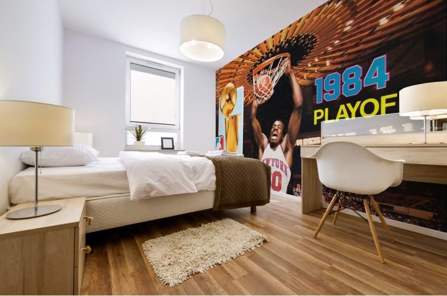 1984 new york knicks nba basketball playoffs bernard king program poster Mural print