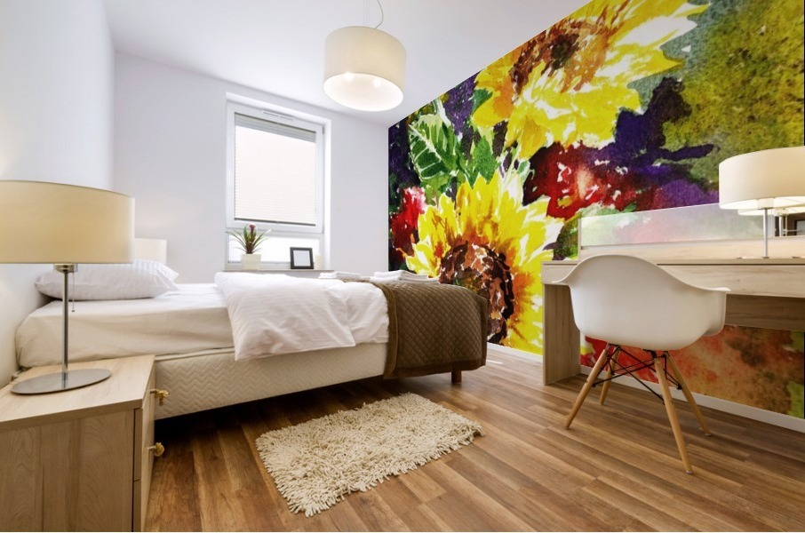 Impressionism And Sunflowers Mural print