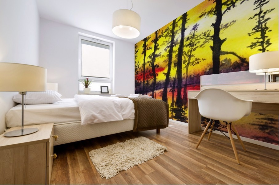 Bright Sunset Through The Trees Mural print