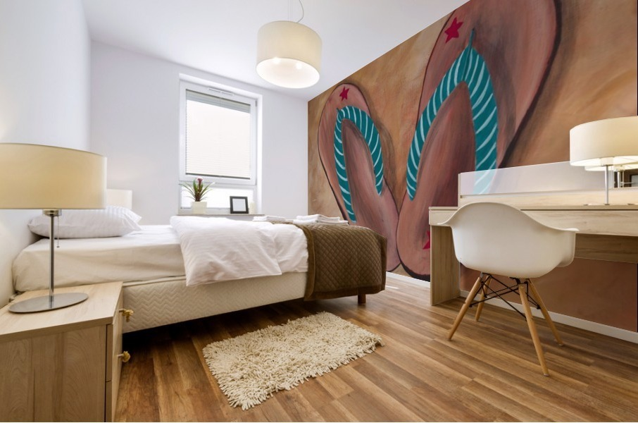 Filp Flops with Stripes  Mural print