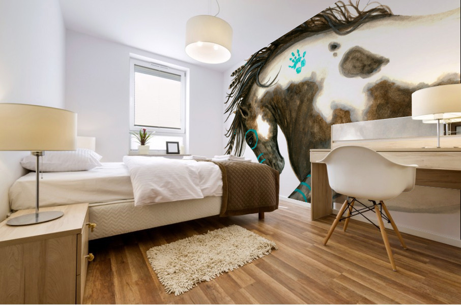 Pinto Horse Turquoise  Mural print