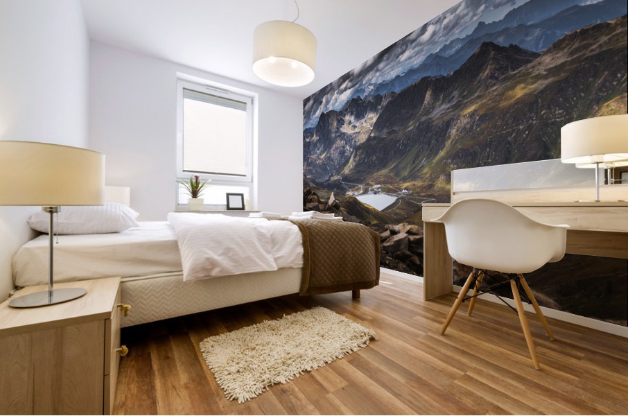 Surrounded by mountains Mural print