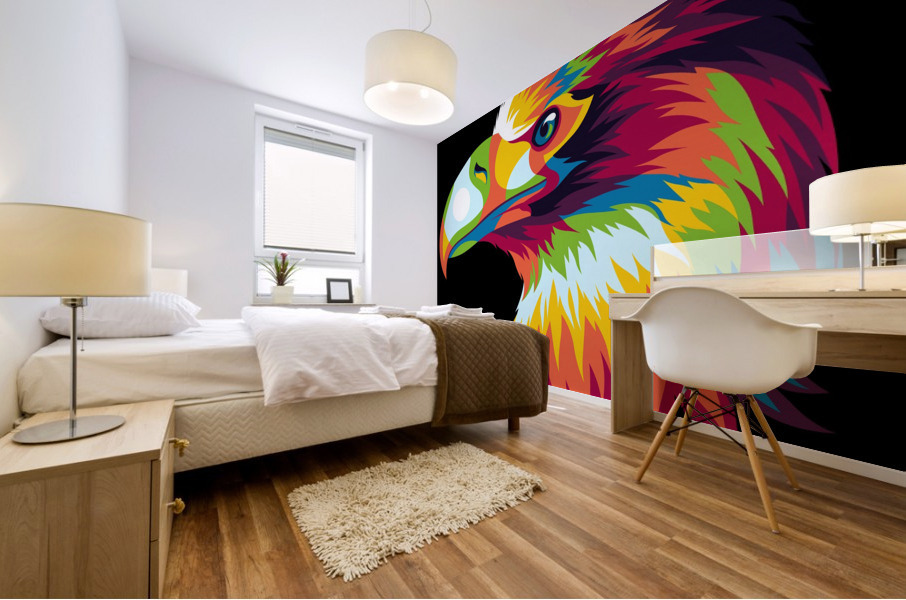 Bird of Prey in Colorful Pop Art Illustration Mural print