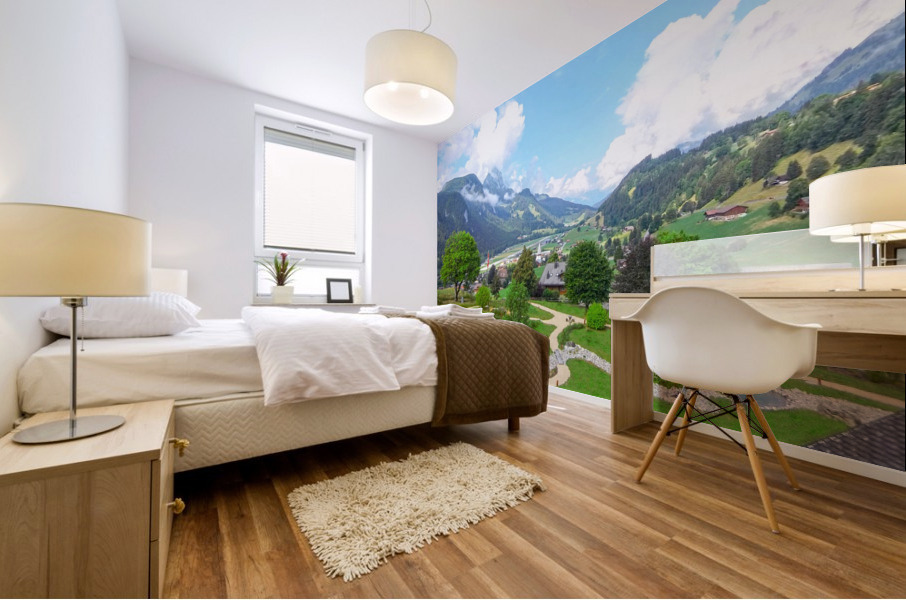 The  Saane valley in Switzerland Surrounded by the Alps Mural print