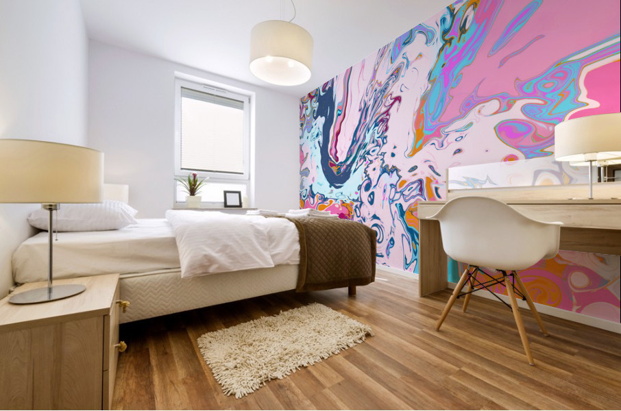 Baby Blue and Pink Paint Pour Mural print