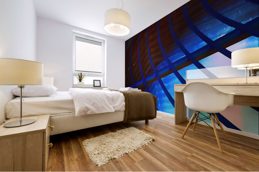 abstract blue curved lines Mural print