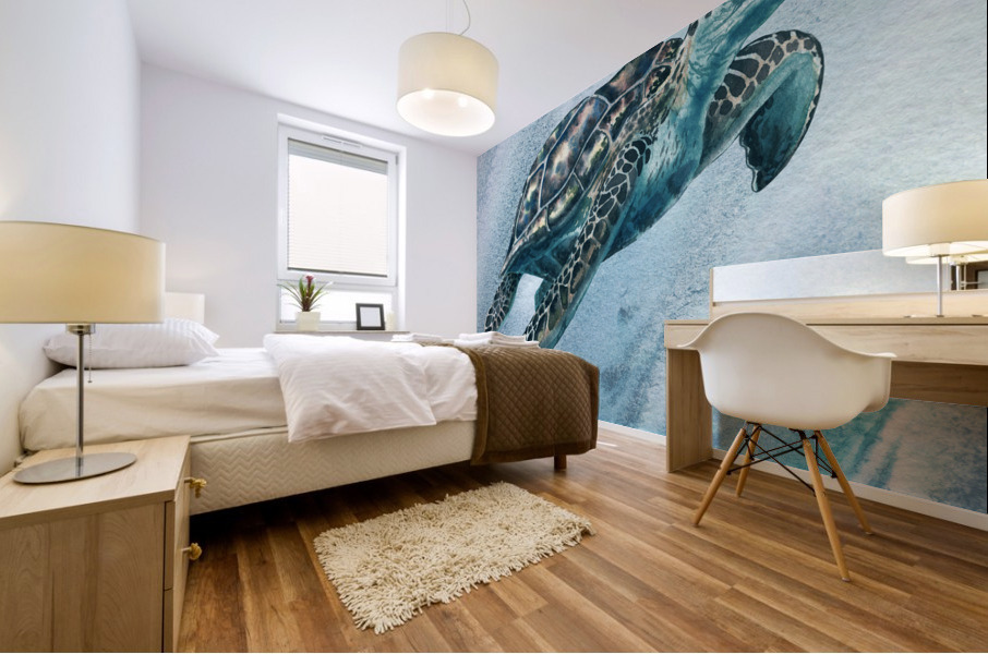 Watercolor Giant Turtle In Abstract Seaweed And Water XI Mural print