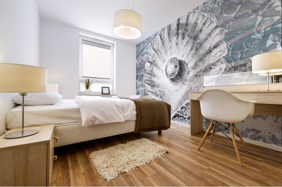 Silver Gray Seashell On Ocean Shore Waves And Rocks V Mural print