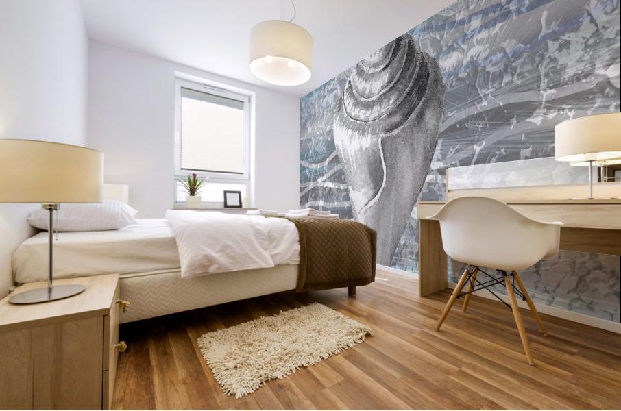 Silver Gray Seashell On Ocean Shore Waves And Rocks VII Mural print