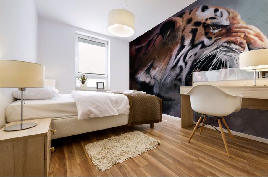 Lunging Tiger Mural print