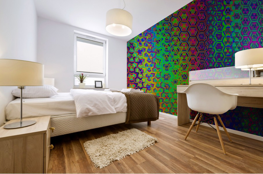 psychedelic wave Mural print