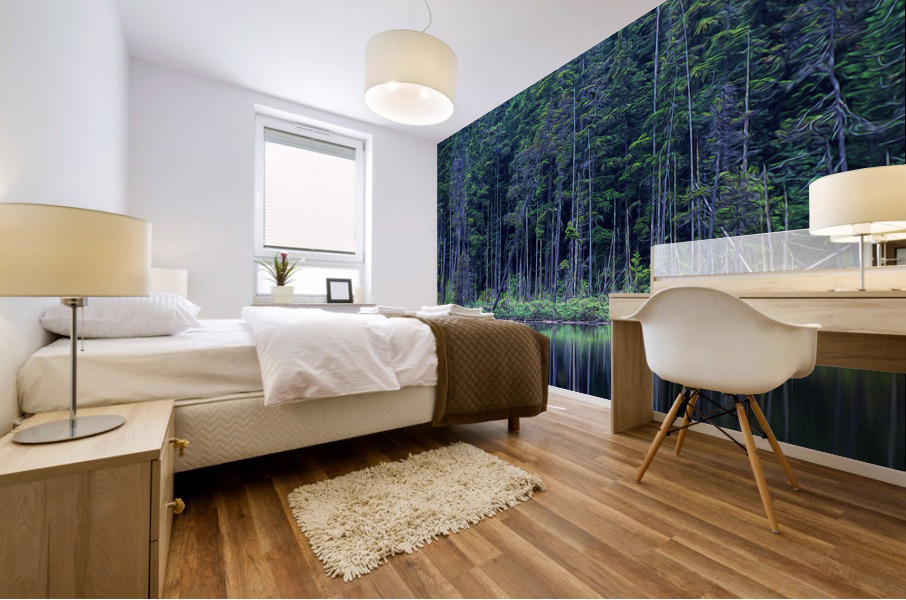 Forest by the Lake Mural print