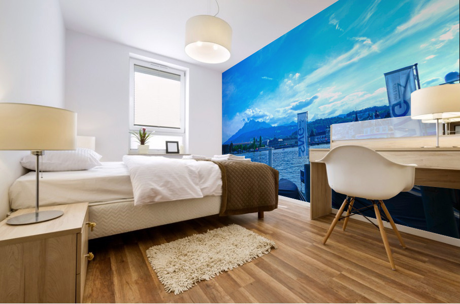 Blue Day Mount Pilatus on the Shores of Lake Lucerne   Central Swiss Alps Mural print