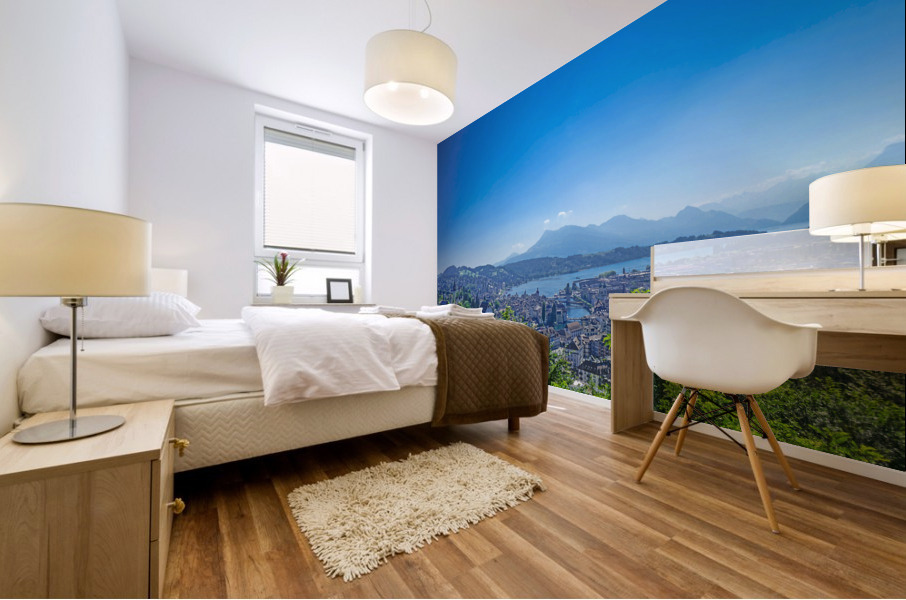 Stunning View Musegg Wall to Chapel Bridge to Lucerne and the Alps   Lucerne Switzerland Mural print
