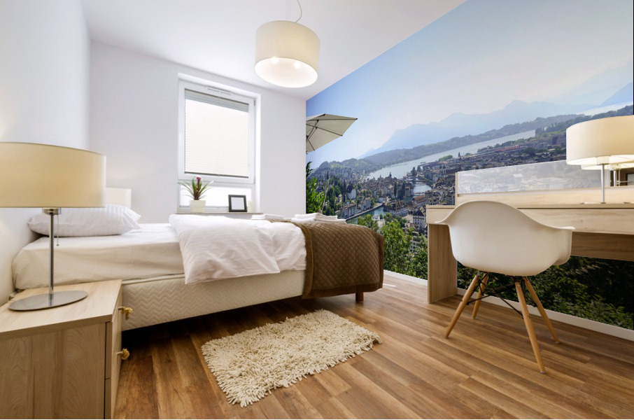 Stunning View to Lake Lucerne in the Central Swiss Alps Mural print