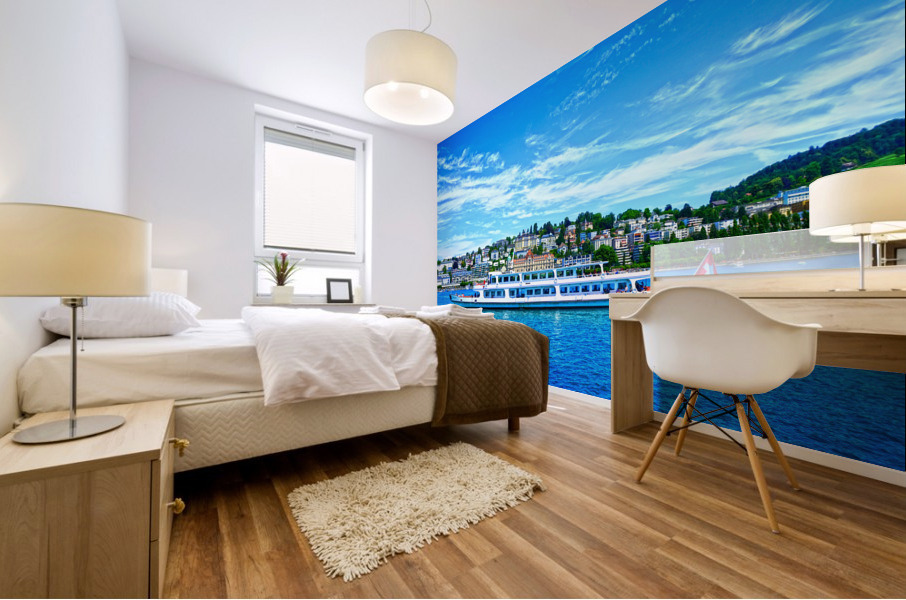 Cruise Boat On Lake Lucerne with City in Background in Switzerland Mural print
