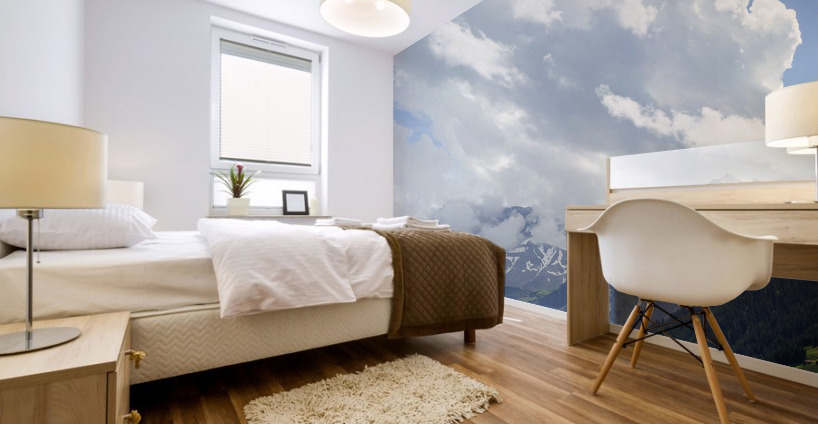 Beautiful Day in the Valley and Mountains of Adelboden Switzerland Mural print