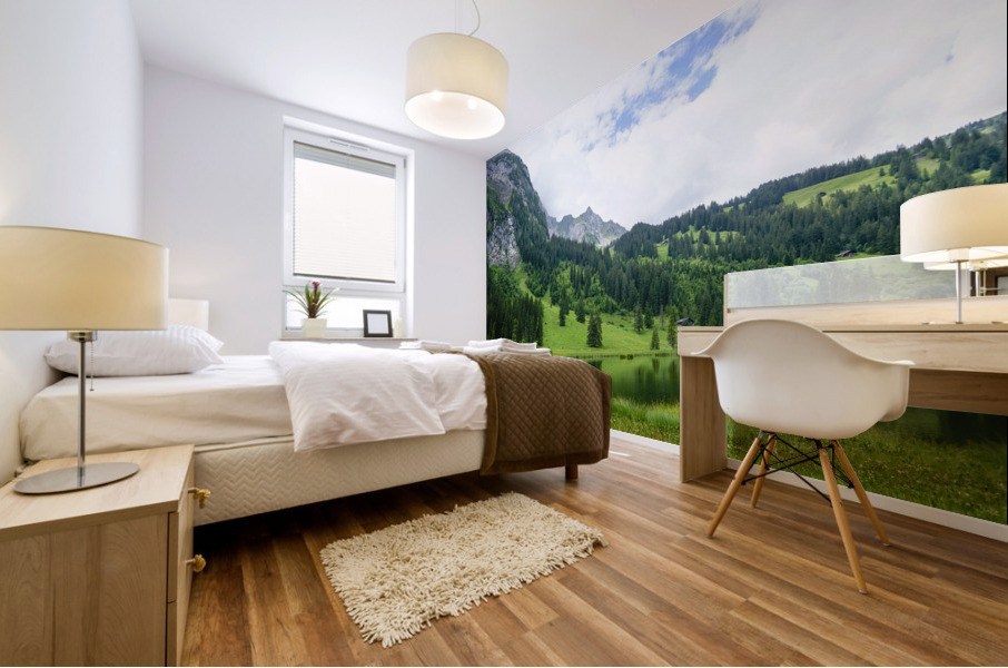 Quiet Morning on the Lake in the Swiss Highlands Mural print
