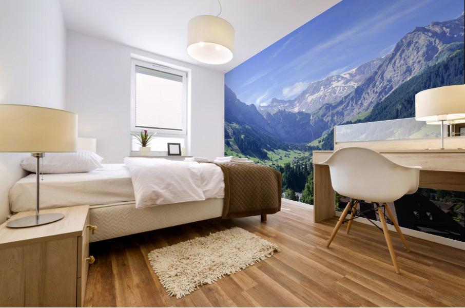 Blue Skies over the Alps in Adelboden Switzerland Mural print