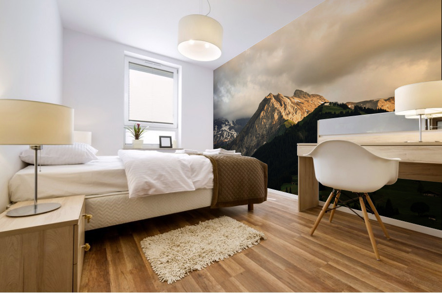 Mountain Bathed in the Golden Rays of the Sun at Sunset in Switzerland 1 of 3 Mural print