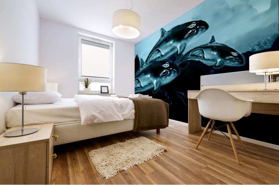 ORCAS LUNARES WIDE 4 Mural print