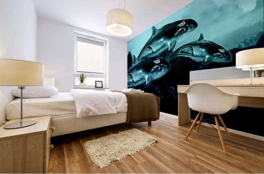 ORCAS LUNARES WIDE 3 Mural print