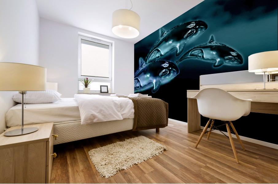 ORCAS LUNARES WIDE 8 Mural print