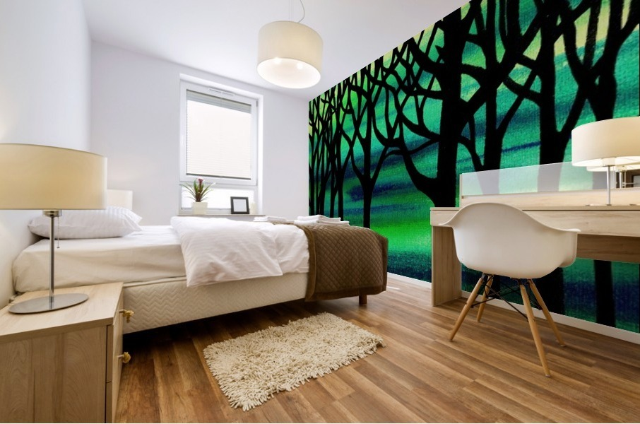 Abstract Spring Forest Mural print