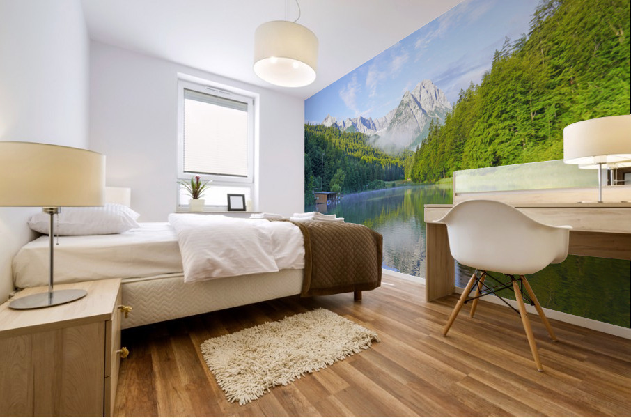 Blue Skies over the Riessersee in the Bavarian Alps near Garmisch Germany Mural print