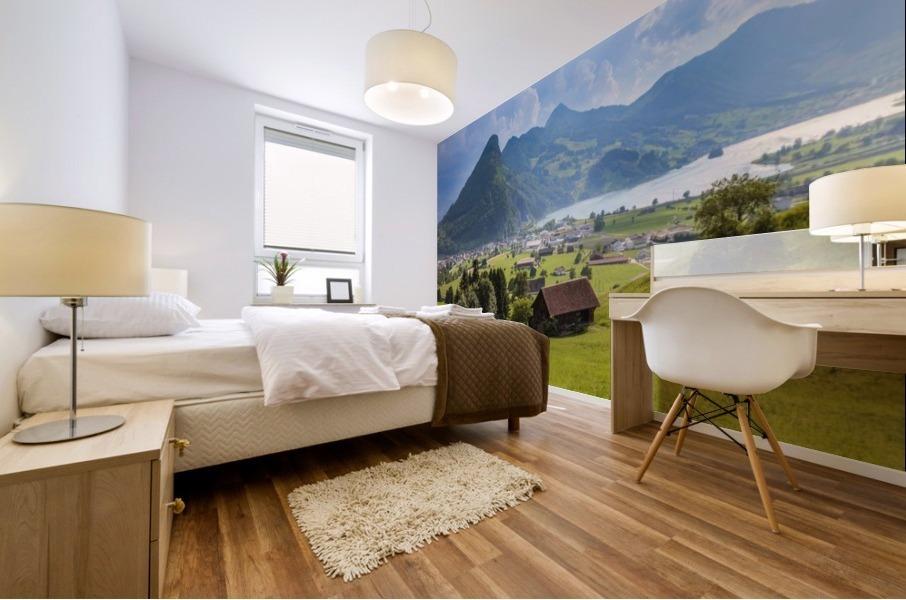 Seewen, a village on Lake Lauerz; Schwyz Canton, Switzerland Mural print