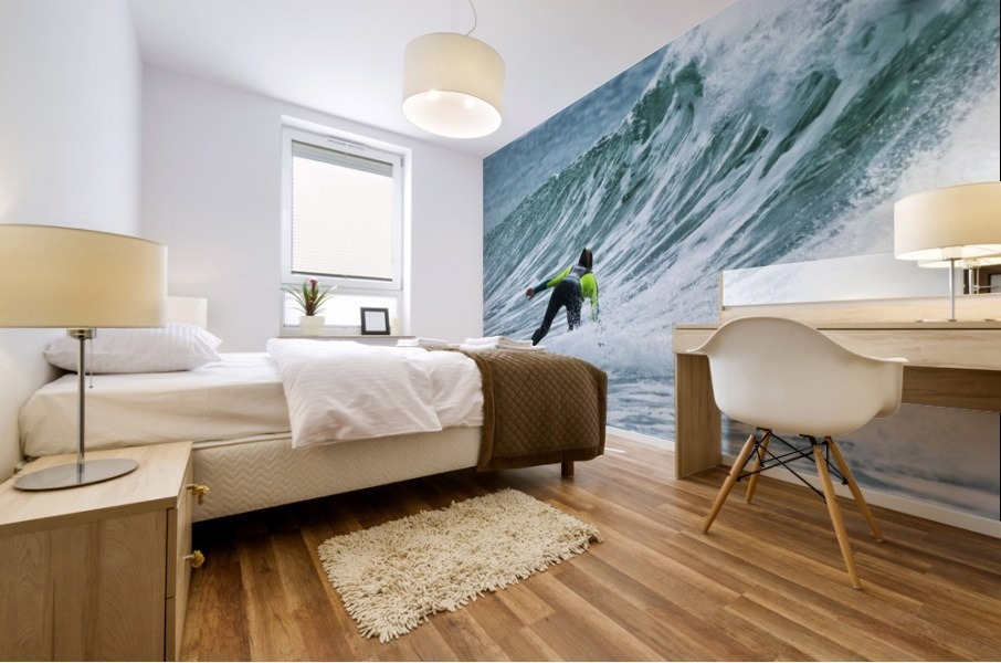 Surfer catching a wave; Tarifa, Cadiz, Andalusia, Spain Mural print