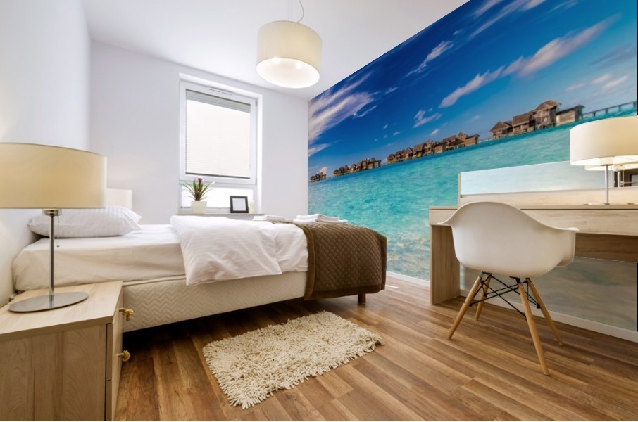 Amazing beach in Maldives, summer travel Mural print