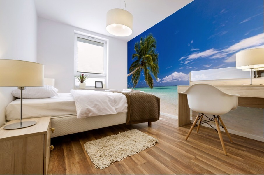Untouched tropical beach in Maldives Mural print