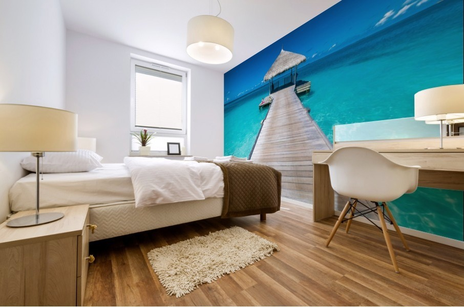 View of water bungalow in tropical island, Maldives, Indian ocean Mural print