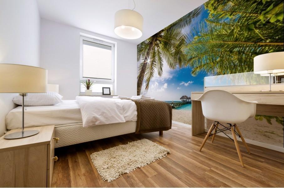 Palm and tropical beach Mural print