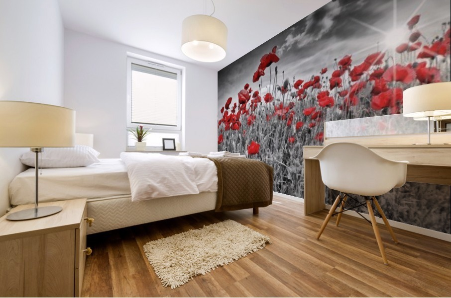 Idyllic Field of Poppies with Sun Mural print