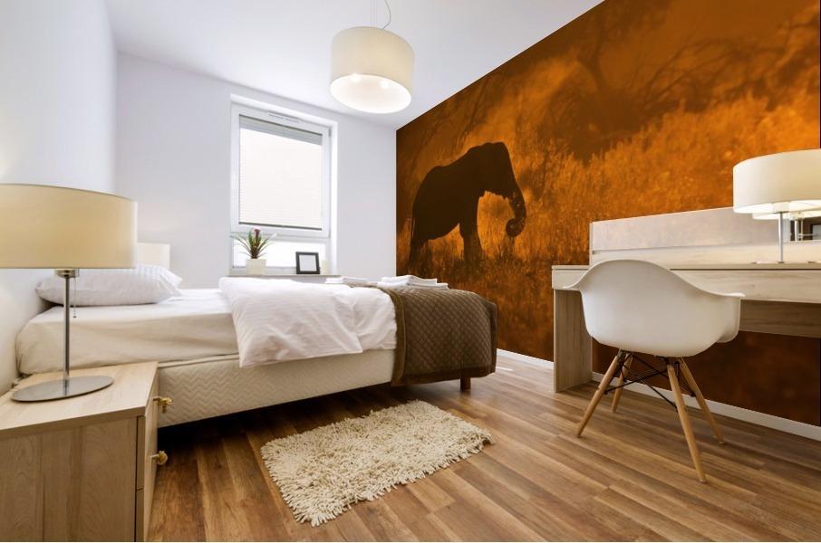 Golden Elephant in Savute Mural print