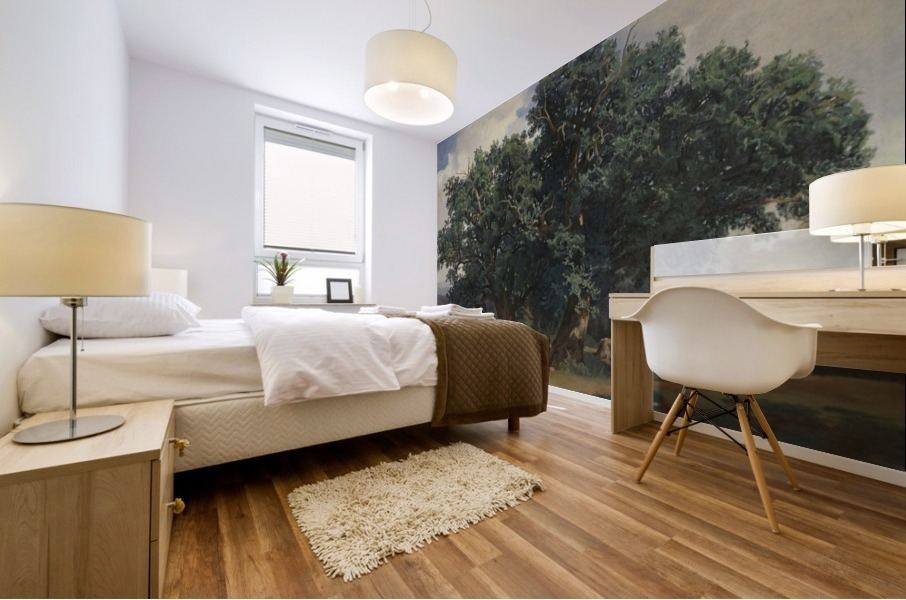Painting of a big green tree Mural print