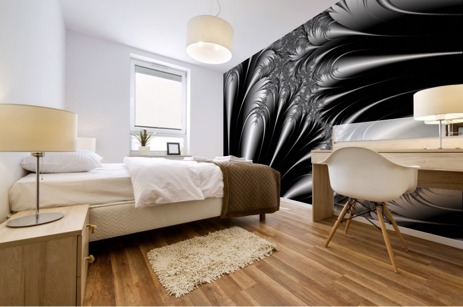Silver And Black Abstract Mural print