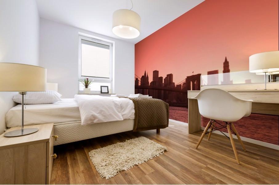 Lower Manhattan Skyline Viewed From Brooklyn Bridge Park, Brooklyn, New York City, New York, Usa Mural print
