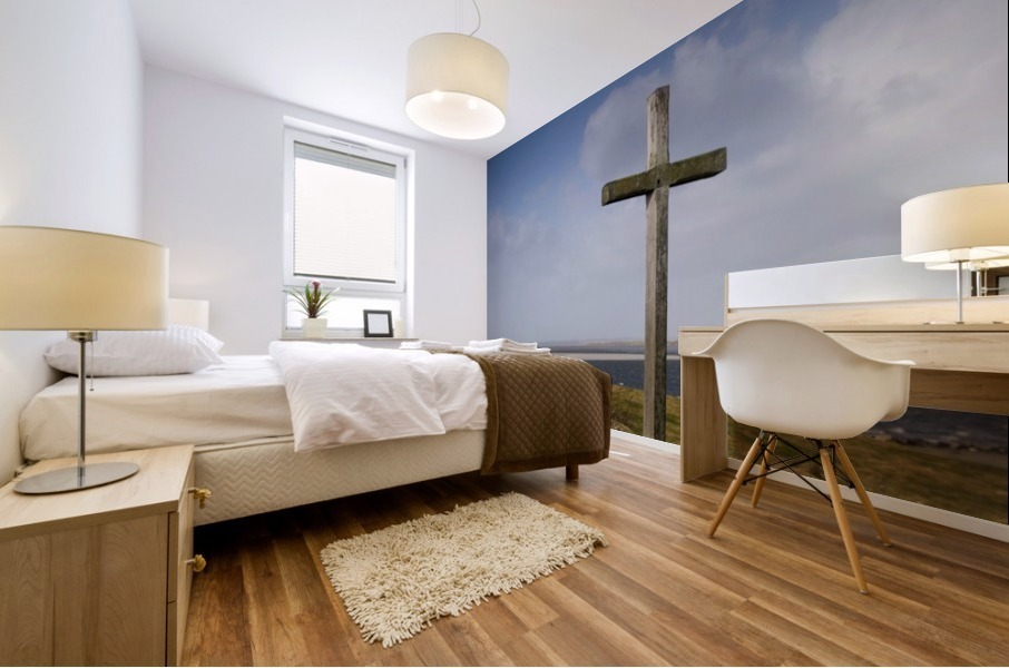 Grave Site Marked By A Cross On A Hill Mural print