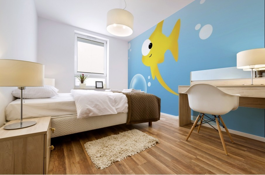 Illustration Of Fish And Bubbles Mural print