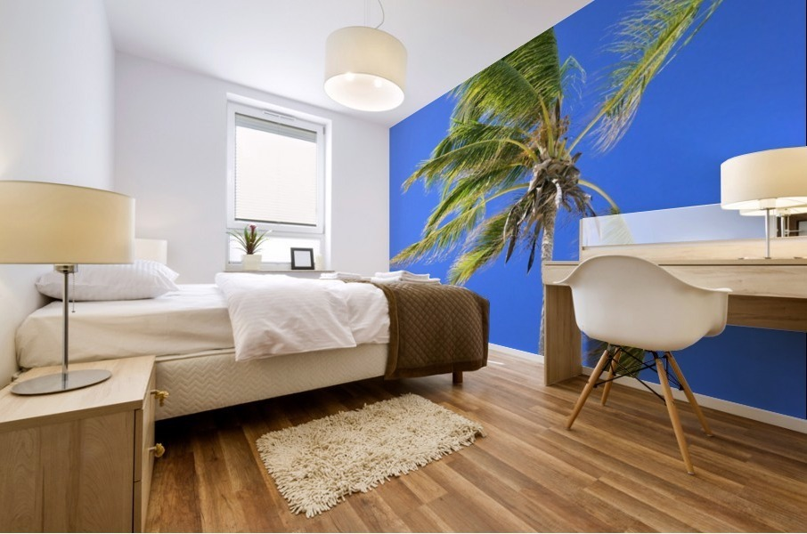 Palm Tree Against Clear Blue Sky Mural print